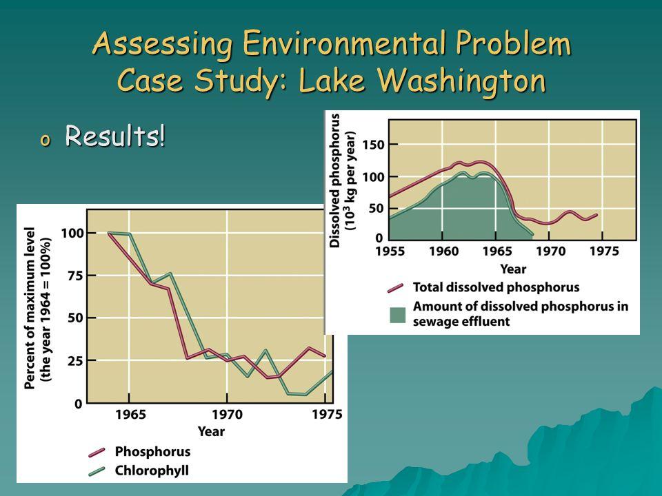 o Results! Assessing Environmental Problem Case Study: Lake Washington