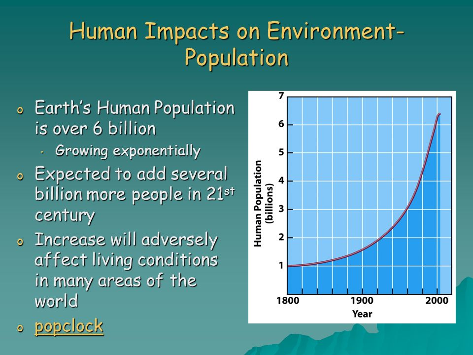 Human Impacts on Environment- Population o Earths Human Population is over 6 billion Growing exponentially Growing exponentially o Expected to add sev