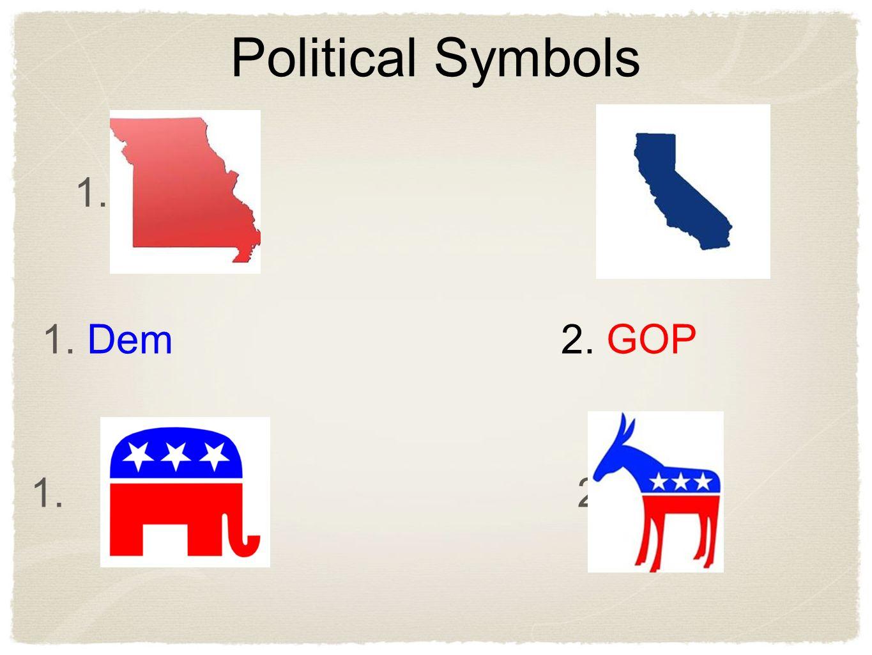 1. 2. 1. Dem 2. GOP 1. 2. Political Symbols