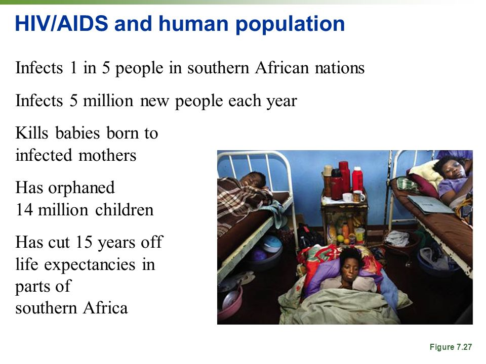HIV/AIDS and human population Infects 1 in 5 people in southern African nations Infects 5 million new people each year Kills babies born to infected mothers Has orphaned 14 million children Has cut 15 years off life expectancies in parts of southern Africa Figure 7.27