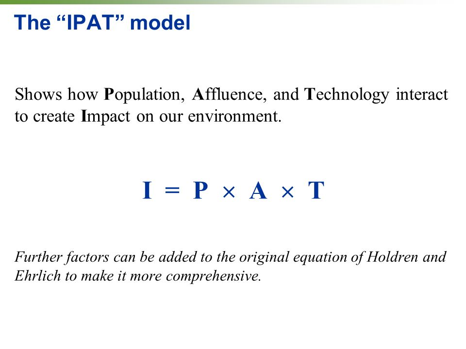 The IPAT model Shows how Population, Affluence, and Technology interact to create Impact on our environment.