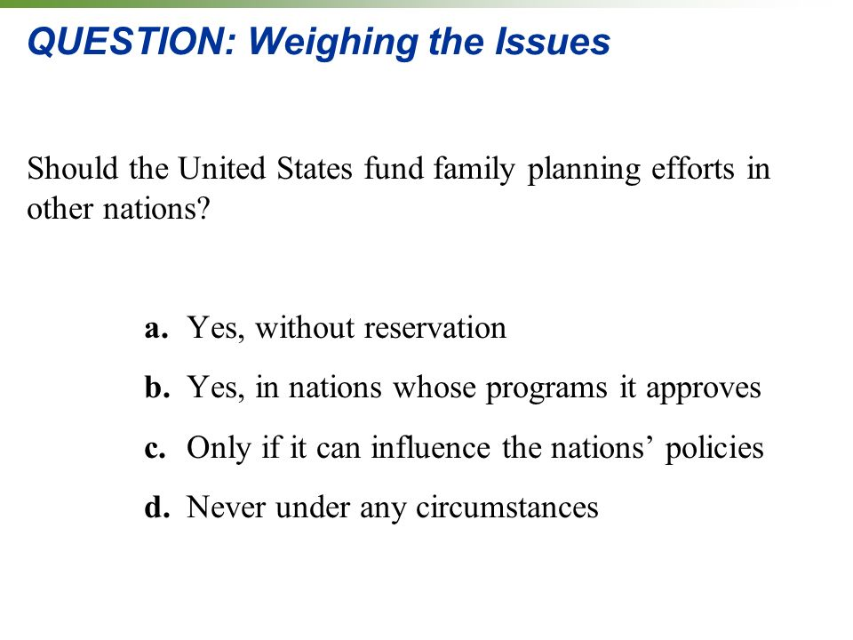 QUESTION: Weighing the Issues Should the United States fund family planning efforts in other nations.