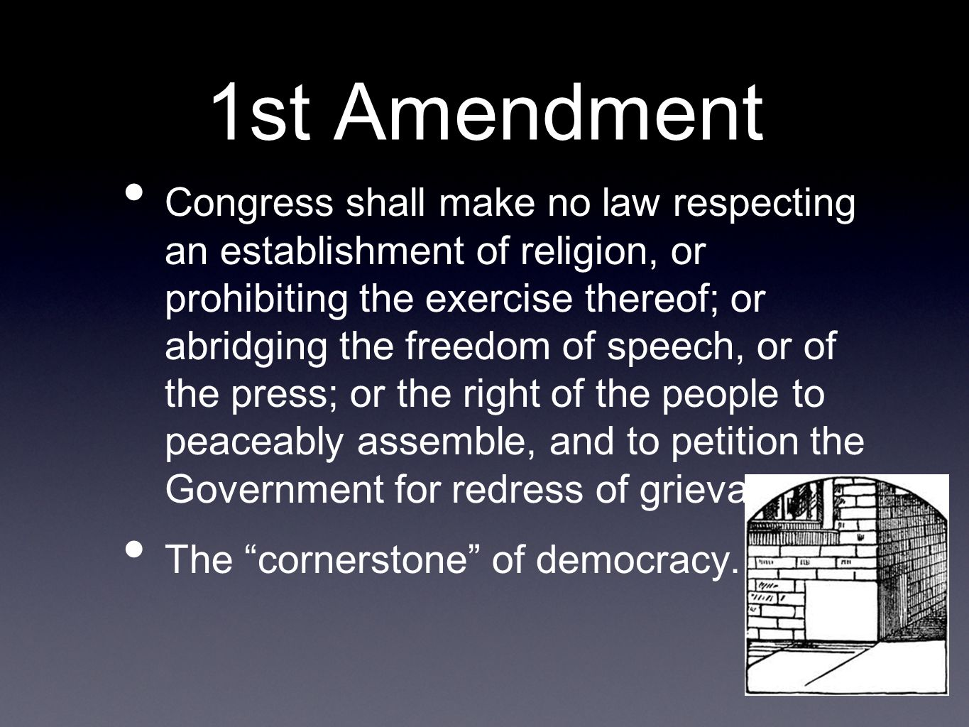 1st Amendment Congress shall make no law respecting an establishment of religion, or prohibiting the exercise thereof; or abridging the freedom of spe