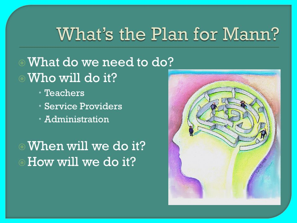 What do we need to do? Who will do it? Teachers Service Providers Administration When will we do it? How will we do it?
