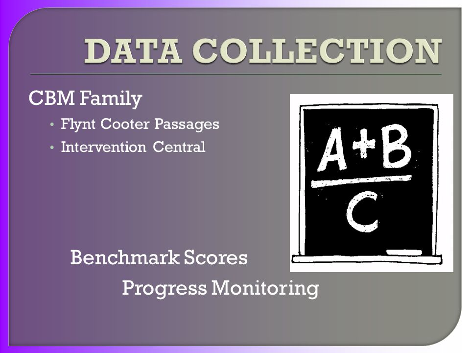 CBM Family Flynt Cooter Passages Intervention Central Benchmark Scores Progress Monitoring
