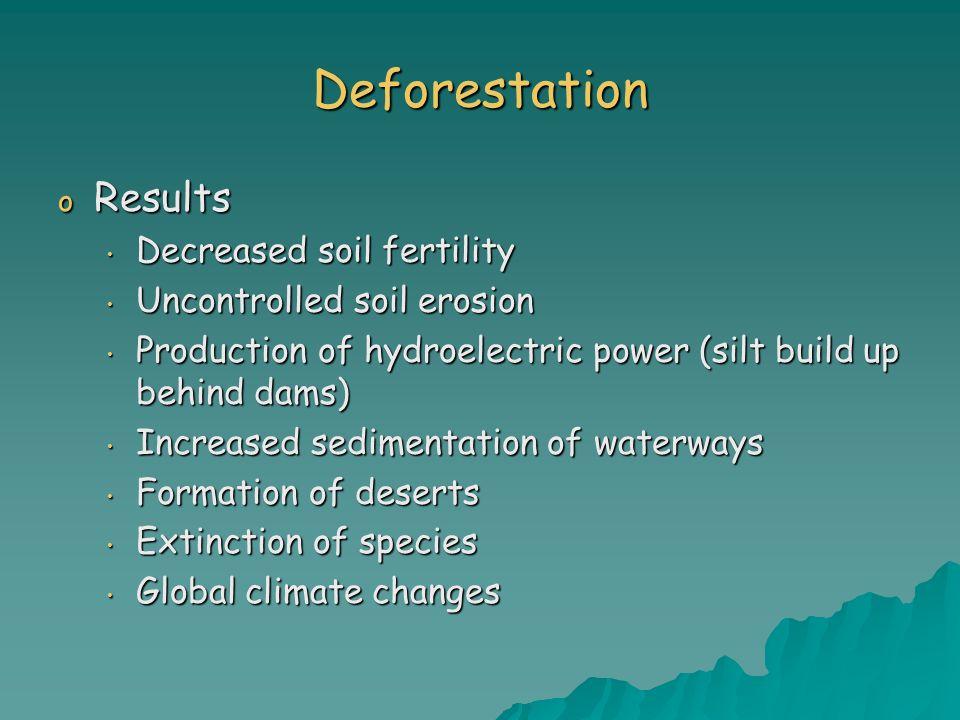 Deforestation o Results Decreased soil fertility Decreased soil fertility Uncontrolled soil erosion Uncontrolled soil erosion Production of hydroelect