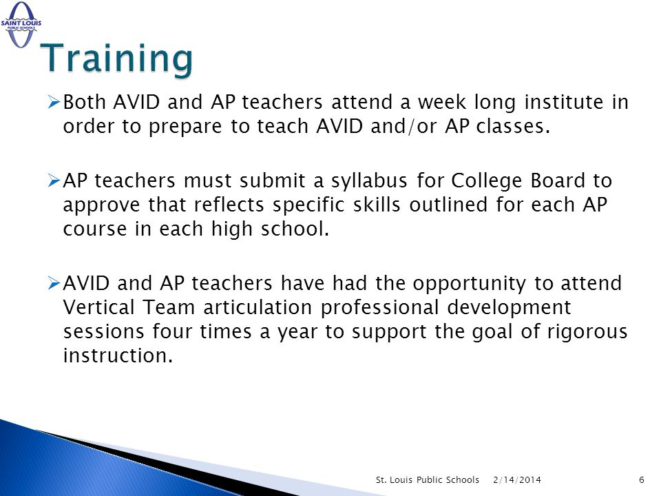 Both AVID and AP teachers attend a week long institute in order to prepare to teach AVID and/or AP classes. AP teachers must submit a syllabus for Col