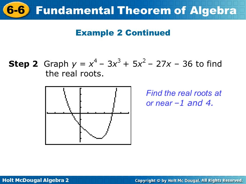 Holt McDougal Algebra 2 6-6 Fundamental Theorem of Algebra Example 2 Continued Find the real roots at or near –1 and 4. Step 2 Graph y = x 4 – 3x 3 +