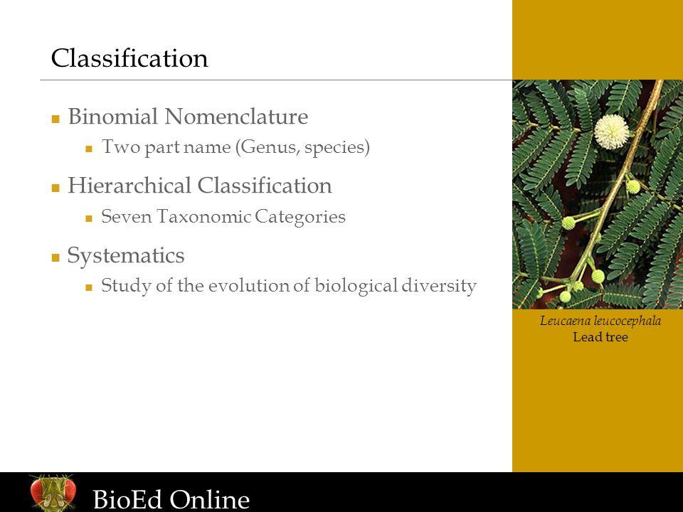 www.BioEdOnline.org Leucaena leucocephala Lead tree Classification Binomial Nomenclature Two part name (Genus, species) Hierarchical Classification Se