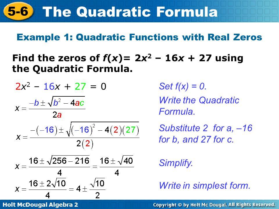Function Examples Example 1 Quadratic Functions
