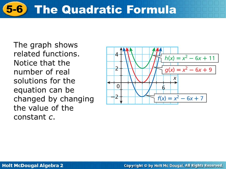 Holt McDougal Algebra 2 5-6 The Quadratic Formula The graph shows related functions. Notice that the number of real solutions for the equation can be
