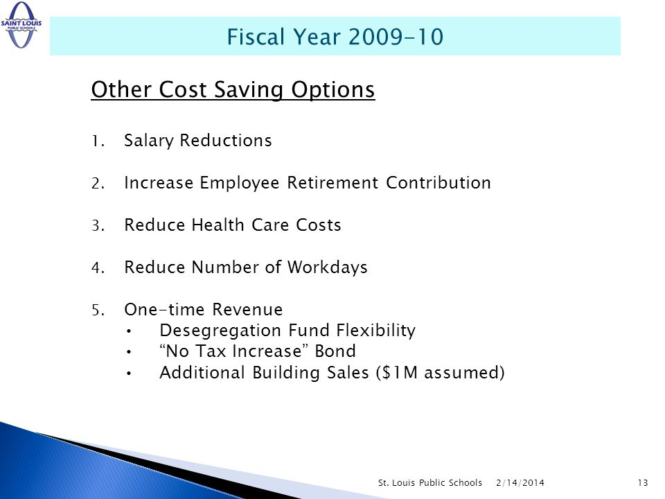 Other Cost Saving Options 1. Salary Reductions 2. Increase Employee Retirement Contribution 3. Reduce Health Care Costs 4. Reduce Number of Workdays 5
