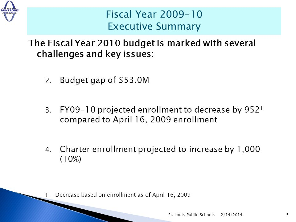 The Fiscal Year 2010 budget is marked with several challenges and key issues: 2. Budget gap of $53.0M 3. FY09-10 projected enrollment to decrease by 9