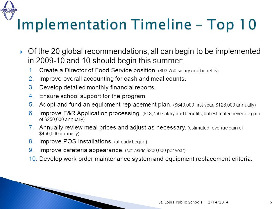 Of the 20 global recommendations, all can begin to be implemented in 2009-10 and 10 should begin this summer: 1.Create a Director of Food Service position.
