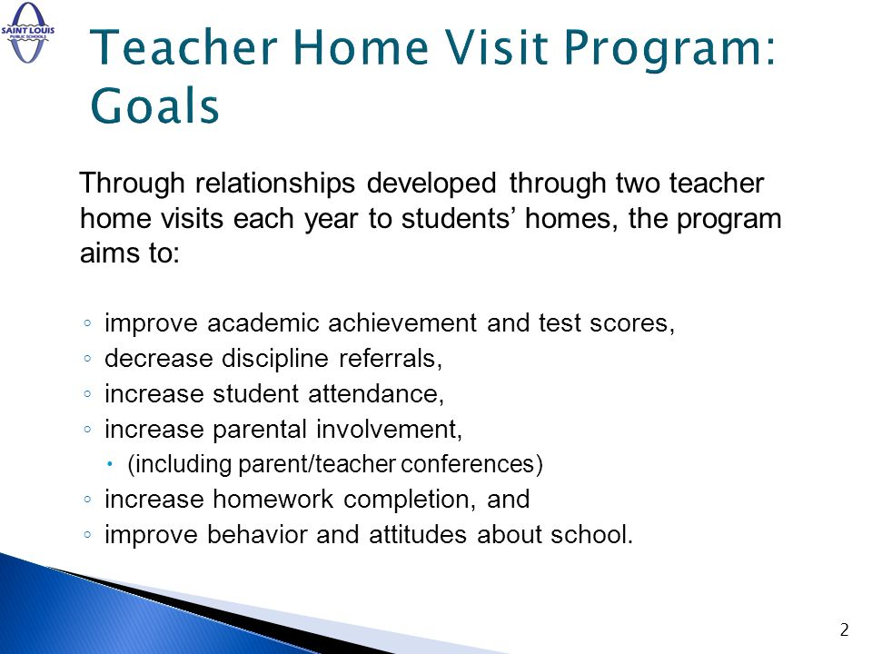 Through relationships developed through two teacher home visits each year to students homes, the program aims to: improve academic achievement and tes