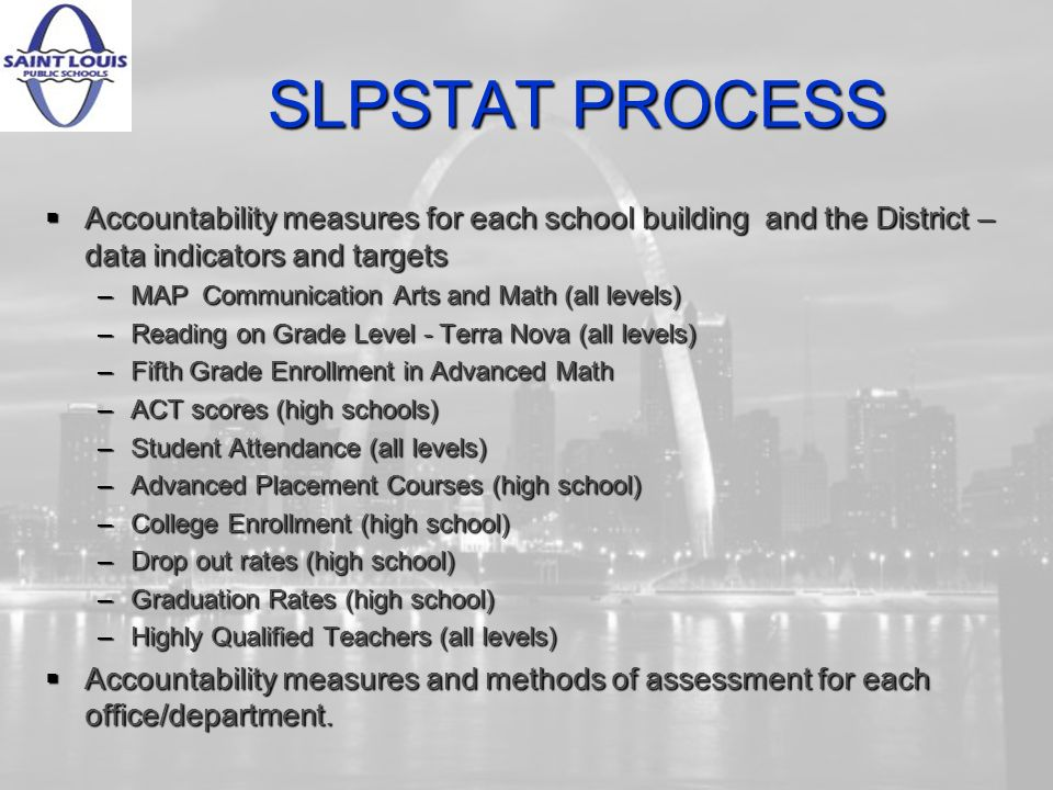 SLPSTAT PROCESS Accountability measures for each school building and the District – data indicators and targets Accountability measures for each school building and the District – data indicators and targets –MAP Communication Arts and Math (all levels) –Reading on Grade Level - Terra Nova (all levels) –Fifth Grade Enrollment in Advanced Math –ACT scores (high schools) –Student Attendance (all levels) –Advanced Placement Courses (high school) –College Enrollment (high school) –Drop out rates (high school) –Graduation Rates (high school) –Highly Qualified Teachers (all levels) Accountability measures and methods of assessment for each office/department.