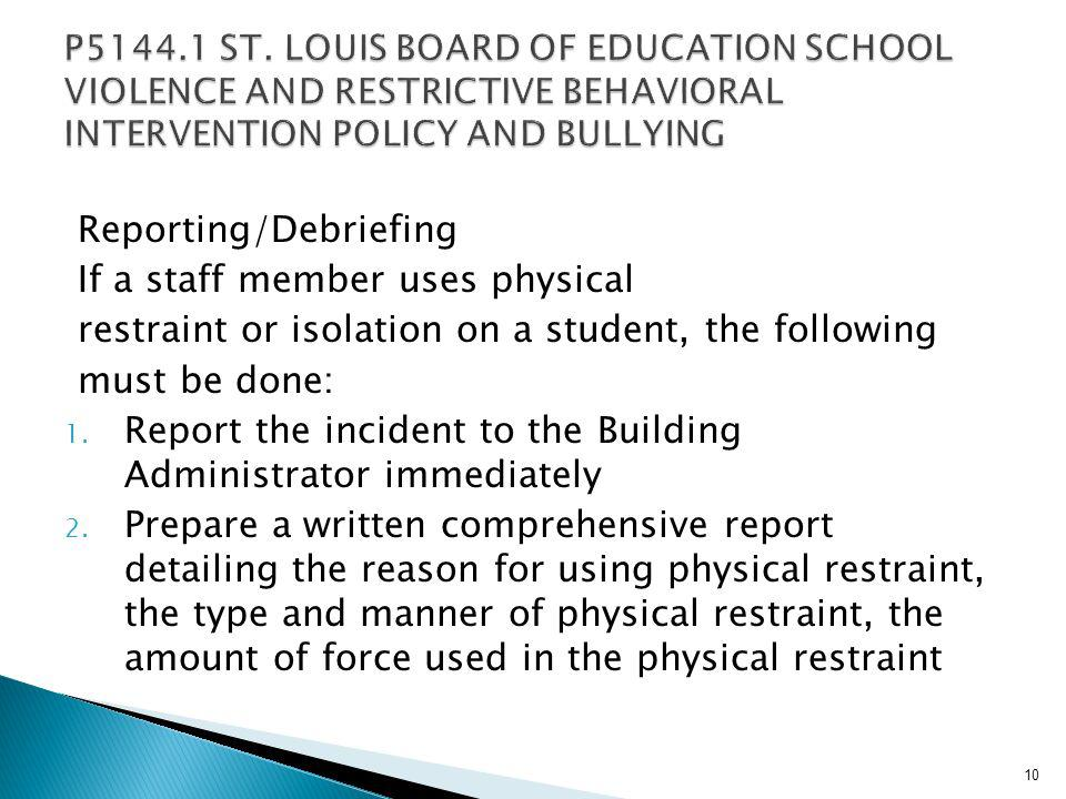 SLPS Board of Education Policy- Seclusion and Isolation Seclusion is not practiced with SLPS Isolation will only be used in an emergency situation Isolation shall not be used as a form of punishment 9