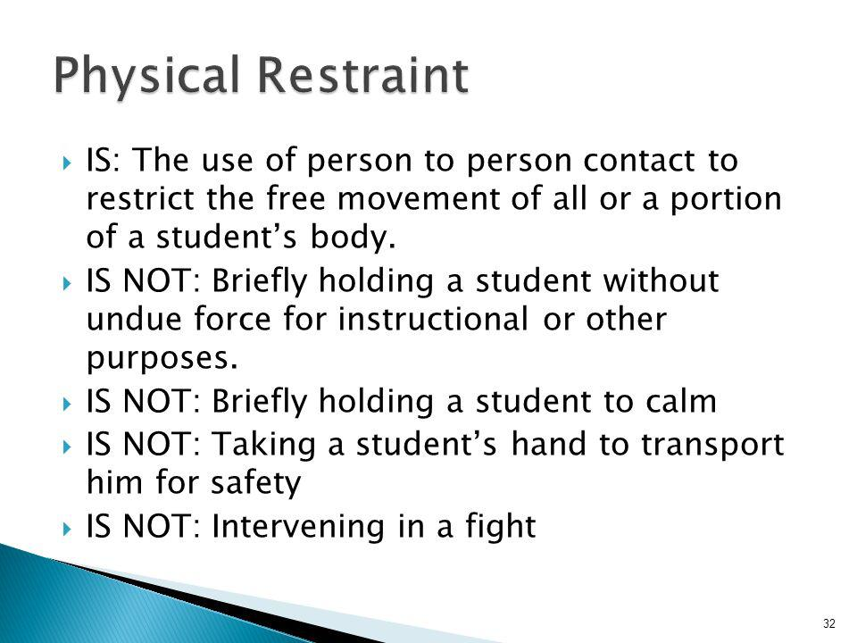 IS: The confinement of a student alone in an enclosed space WITH LOCKING HARDWARE in order to prevent them from leaving IS: Used for an emergency situation while awaiting law enforcement 31