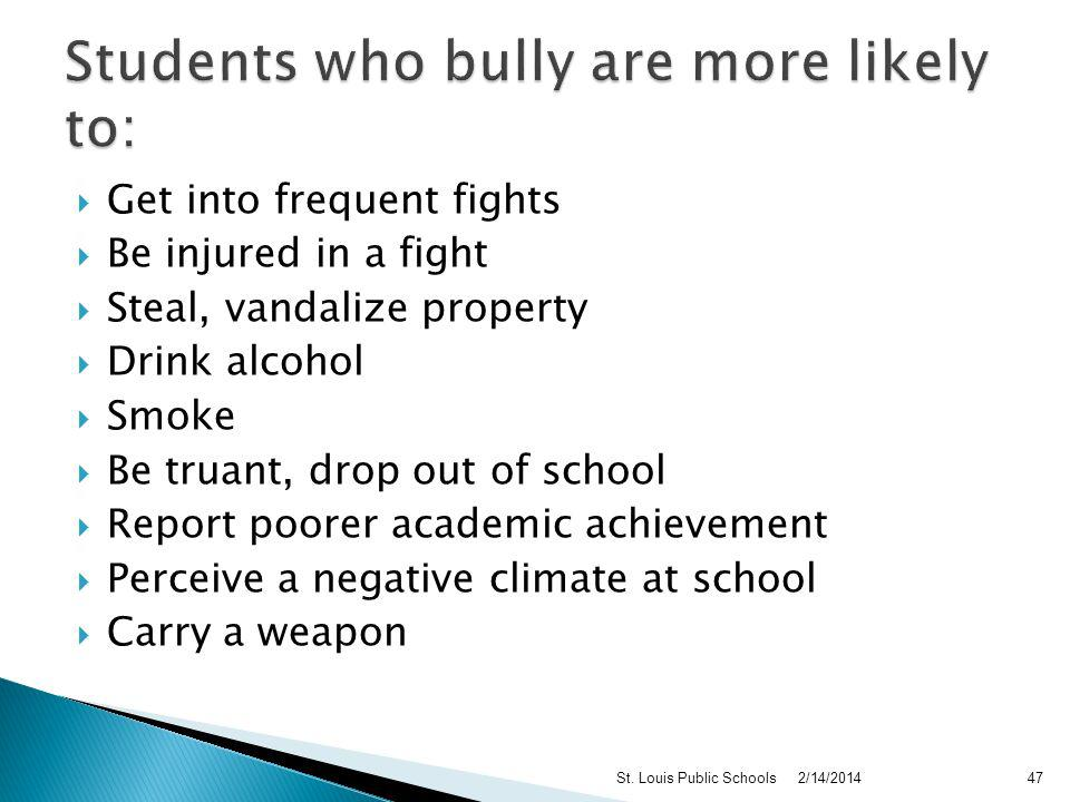 Males: Direct - physical and/or verbal intimidation Females: Indirect – gossip, rumors, sexual comments, social exclusion Studies find that: Males bully more than girls Males report being bullied by males Females report being bullied by males and females 2/14/2014St.