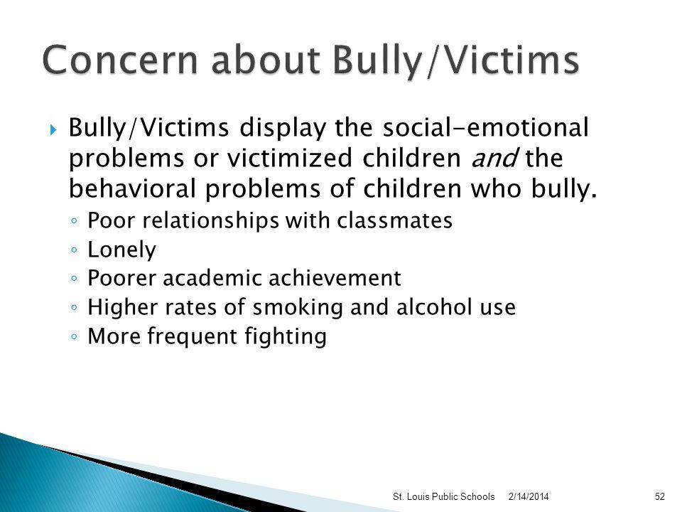 Hyperactive, having difficulty concentrating Quick-tempered, try to fight back if provoked May be bullied by many children and/or adults Try to bully younger, weaker children 2/14/2014St.