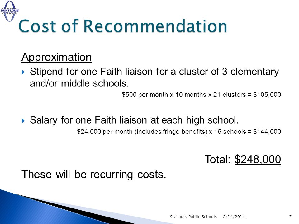 Approximation Stipend for one Faith liaison for a cluster of 3 elementary and/or middle schools.