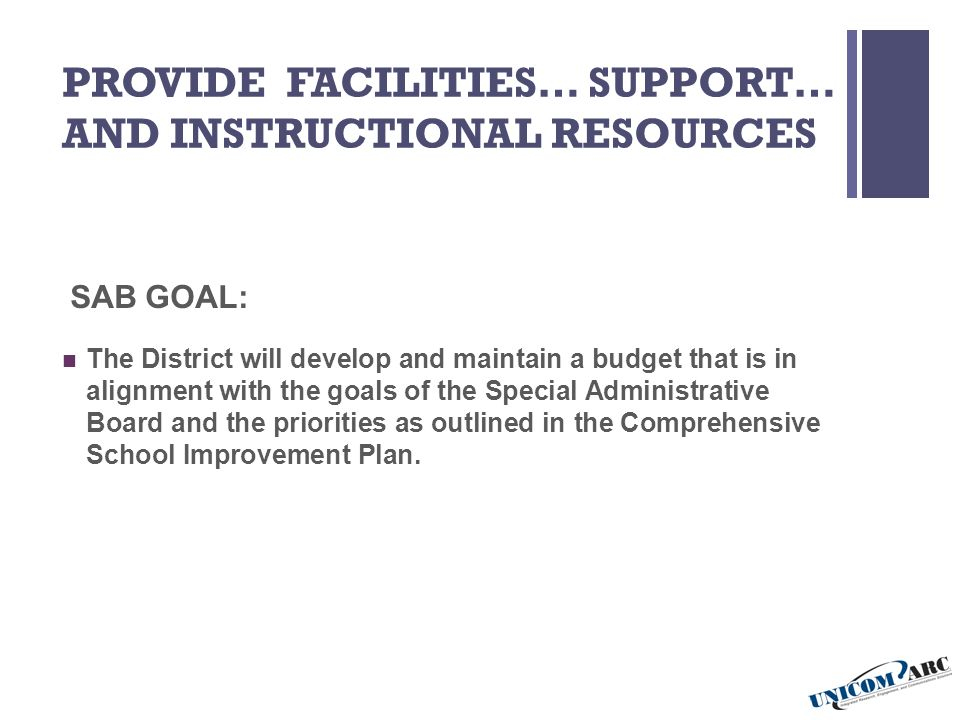PROVIDE FACILITIES… SUPPORT… AND INSTRUCTIONAL RESOURCES SAB GOAL: The District will develop and maintain a budget that is in alignment with the goals of the Special Administrative Board and the priorities as outlined in the Comprehensive School Improvement Plan.