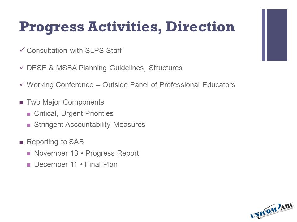 Progress Activities, Direction Consultation with SLPS Staff DESE & MSBA Planning Guidelines, Structures Working Conference – Outside Panel of Professional Educators Two Major Components Critical, Urgent Priorities Stringent Accountability Measures Reporting to SAB November 13 Progress Report December 11 Final Plan