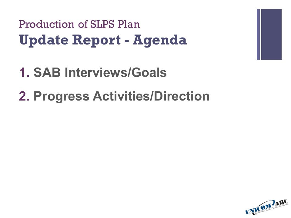 Production of SLPS Plan Update Report - Agenda 1. SAB Interviews/Goals 2.