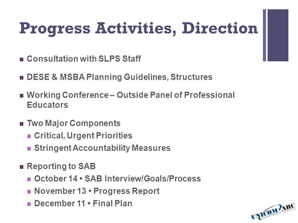 Progress Activities, Direction Consultation with SLPS Staff DESE & MSBA Planning Guidelines, Structures Working Conference – Outside Panel of Professional Educators Two Major Components Critical, Urgent Priorities Stringent Accountability Measures Reporting to SAB October 14 SAB Interview/Goals/Process November 13 Progress Report December 11 Final Plan