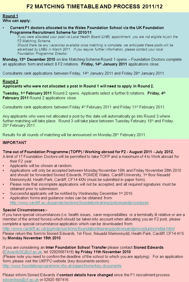 DOCUMENT 4 F2 MATCHING TIMETABLE AND PROCESS 2011/12 Round 1 Who can apply: Current F1 doctors allocated to the Wales Foundation School via the UK Foundation Programme Recruitment Scheme for 2010/11 If you were allocated your post via Local Health Board (LHB) appointment, you are not eligible to join the F2 Matching Scheme.