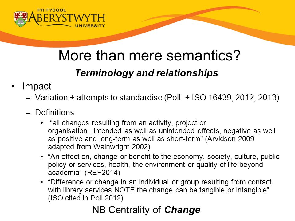 More than mere semantics? Terminology and relationships Impact –Variation + attempts to standardise (Poll + ISO 16439, 2012; 2013) –Definitions: all c