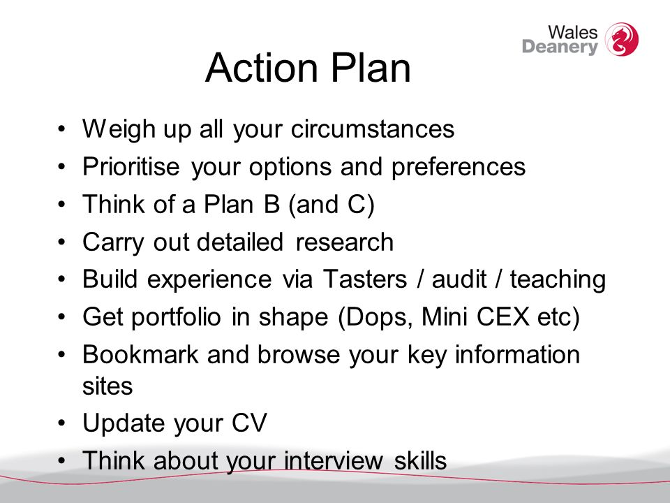 Action Plan Weigh up all your circumstances Prioritise your options and preferences Think of a Plan B (and C) Carry out detailed research Build experience via Tasters / audit / teaching Get portfolio in shape (Dops, Mini CEX etc) Bookmark and browse your key information sites Update your CV Think about your interview skills
