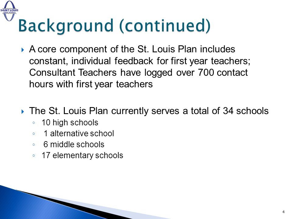 72 probationary teachers and 1 tenured teacher are assigned a Consultant Teacher (53 1 st semester/ 18 1 st /2 nd year teachers added 2 nd semester) Feedback surveys of The St.