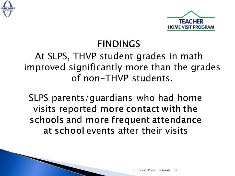 8 FINDINGS At SLPS, THVP student grades in math improved significantly more than the grades of non-THVP students.