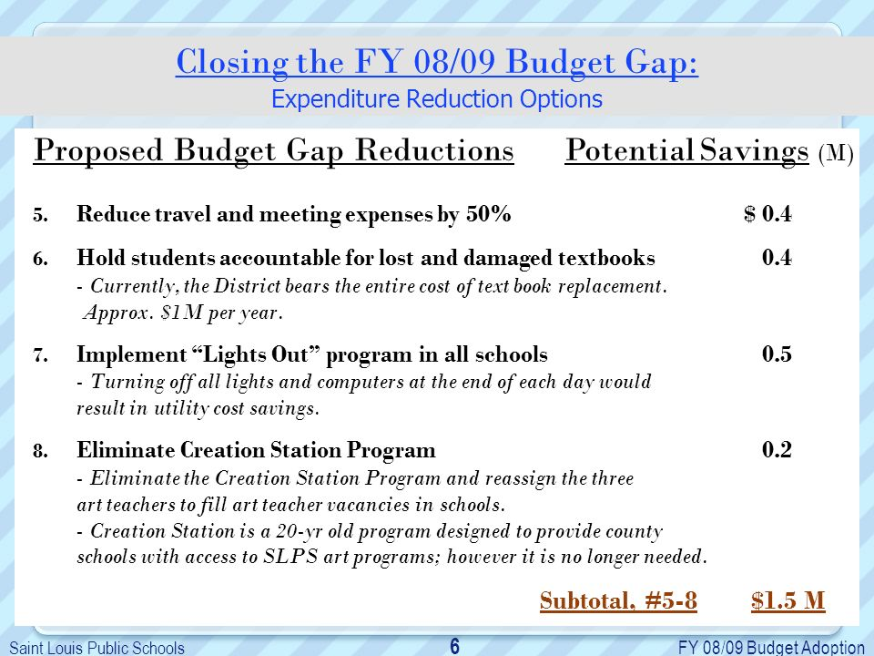 Saint Louis Public Schools FY 08/09 Budget Adoption 6 Proposed Budget Gap Reductions Potential Savings (M) 5.
