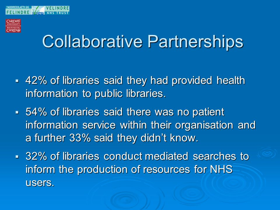 Collaborative Partnerships 42% of libraries said they had provided health information to public libraries. 42% of libraries said they had provided hea