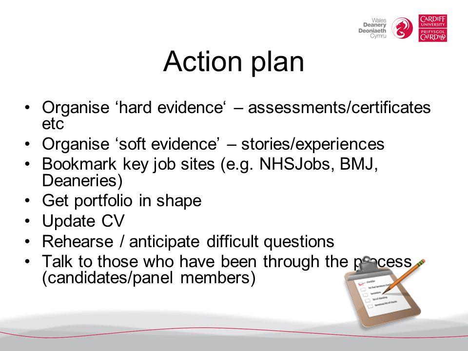 Action plan Organise hard evidence – assessments/certificates etc Organise soft evidence – stories/experiences Bookmark key job sites (e.g. NHSJobs, B