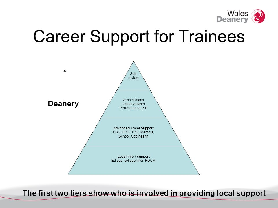 Career Support for Trainees The first two tiers show who is involved in providing local support Deanery