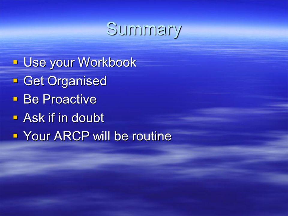 Summary Use your Workbook Use your Workbook Get Organised Get Organised Be Proactive Be Proactive Ask if in doubt Ask if in doubt Your ARCP will be routine Your ARCP will be routine