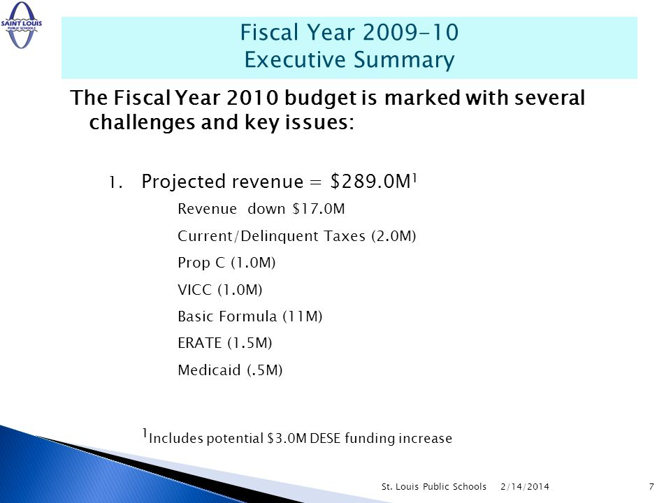 The Fiscal Year 2010 budget is marked with several challenges and key issues: 1. Projected revenue = $289.0M 1 Revenue down $17.0M Current/Delinquent
