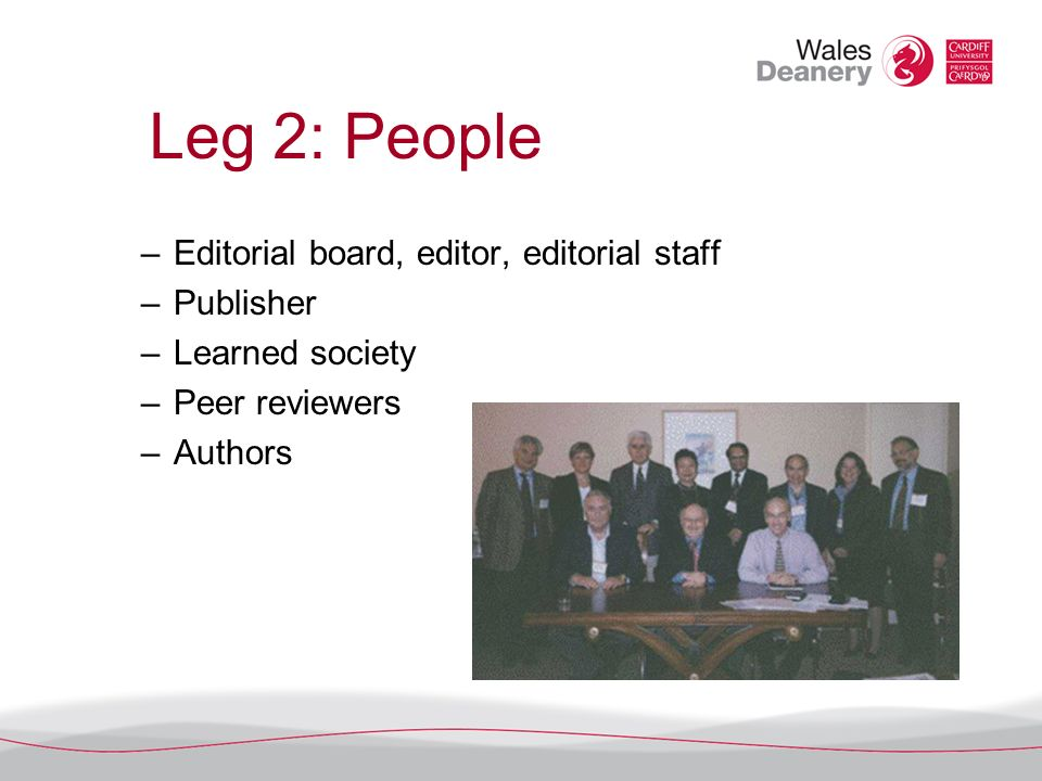 Leg 2: People –Editorial board, editor, editorial staff –Publisher –Learned society –Peer reviewers –Authors