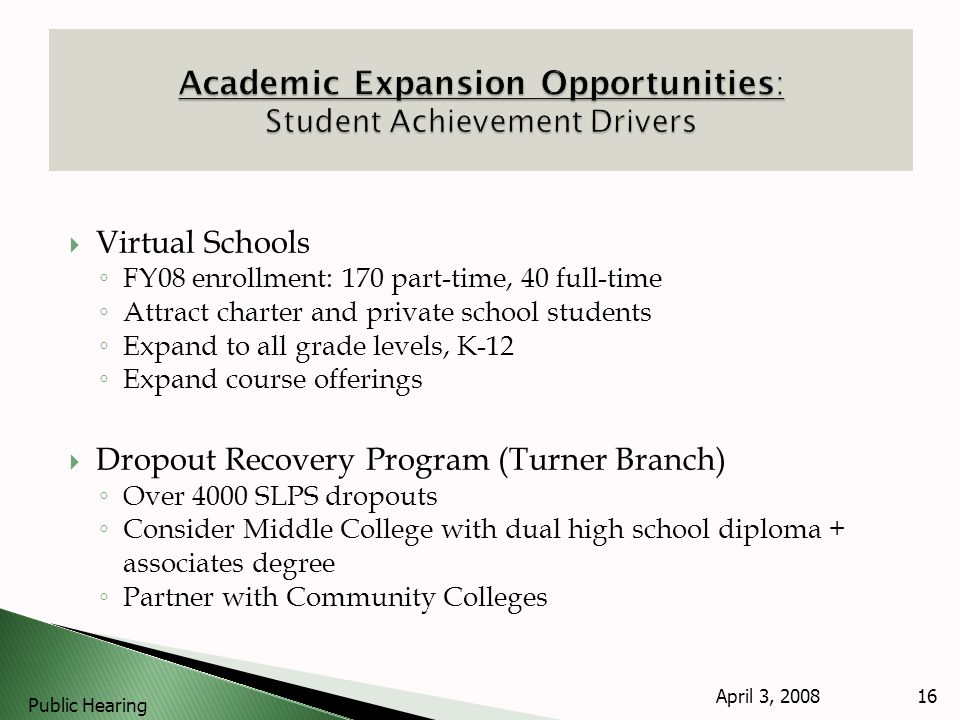 Virtual Schools FY08 enrollment: 170 part-time, 40 full-time Attract charter and private school students Expand to all grade levels, K-12 Expand course offerings Dropout Recovery Program (Turner Branch) Over 4000 SLPS dropouts Consider Middle College with dual high school diploma + associates degree Partner with Community Colleges April 3, 2008 Public Hearing 16