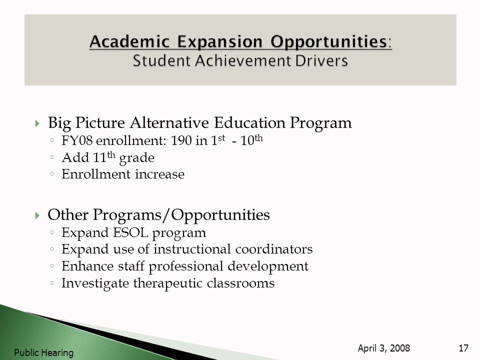 Big Picture Alternative Education Program FY08 enrollment: 190 in 1 st - 10 th Add 11 th grade Enrollment increase Other Programs/Opportunities Expand ESOL program Expand use of instructional coordinators Enhance staff professional development Investigate therapeutic classrooms April 3, 2008 Public Hearing 17
