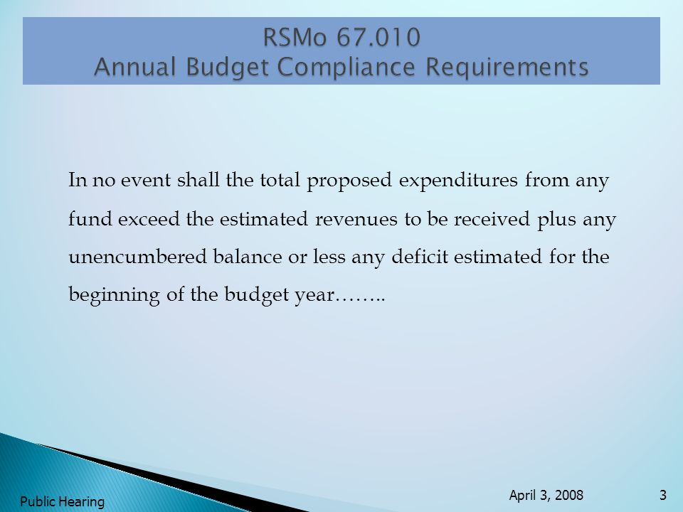 In no event shall the total proposed expenditures from any fund exceed the estimated revenues to be received plus any unencumbered balance or less any deficit estimated for the beginning of the budget year……..