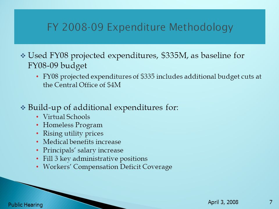 Used FY08 projected expenditures, $335M, as baseline for FY08-09 budget FY08 projected expenditures of $335 includes additional budget cuts at the Cen