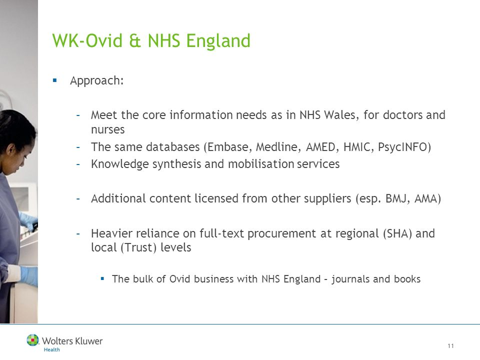 11 WK-Ovid & NHS England Approach: –Meet the core information needs as in NHS Wales, for doctors and nurses –The same databases (Embase, Medline, AMED, HMIC, PsycINFO) –Knowledge synthesis and mobilisation services –Additional content licensed from other suppliers (esp.