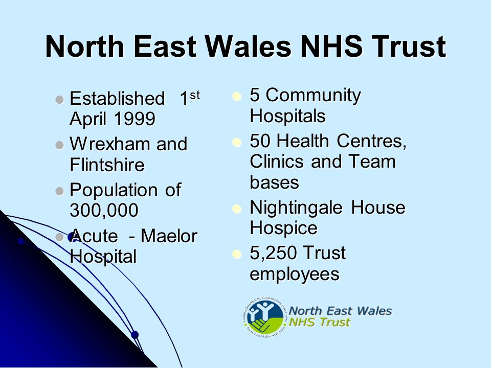 North East Wales NHS Trust Established 1 st April 1999 Established 1 st April 1999 Wrexham and Flintshire Wrexham and Flintshire Population of 300,000 Population of 300,000 Acute - Maelor Hospital Acute - Maelor Hospital 5 Community Hospitals 5 Community Hospitals 50 Health Centres, Clinics and Team bases 50 Health Centres, Clinics and Team bases Nightingale House Hospice Nightingale House Hospice 5,250 Trust employees 5,250 Trust employees