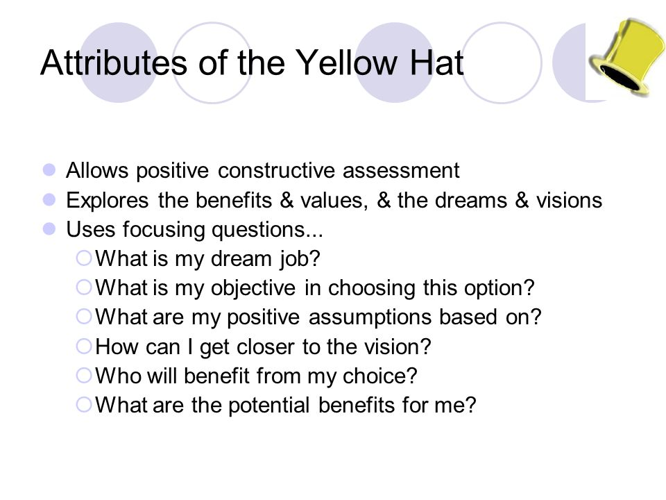 Attributes of the Yellow Hat Allows positive constructive assessment Explores the benefits & values, & the dreams & visions Uses focusing questions...