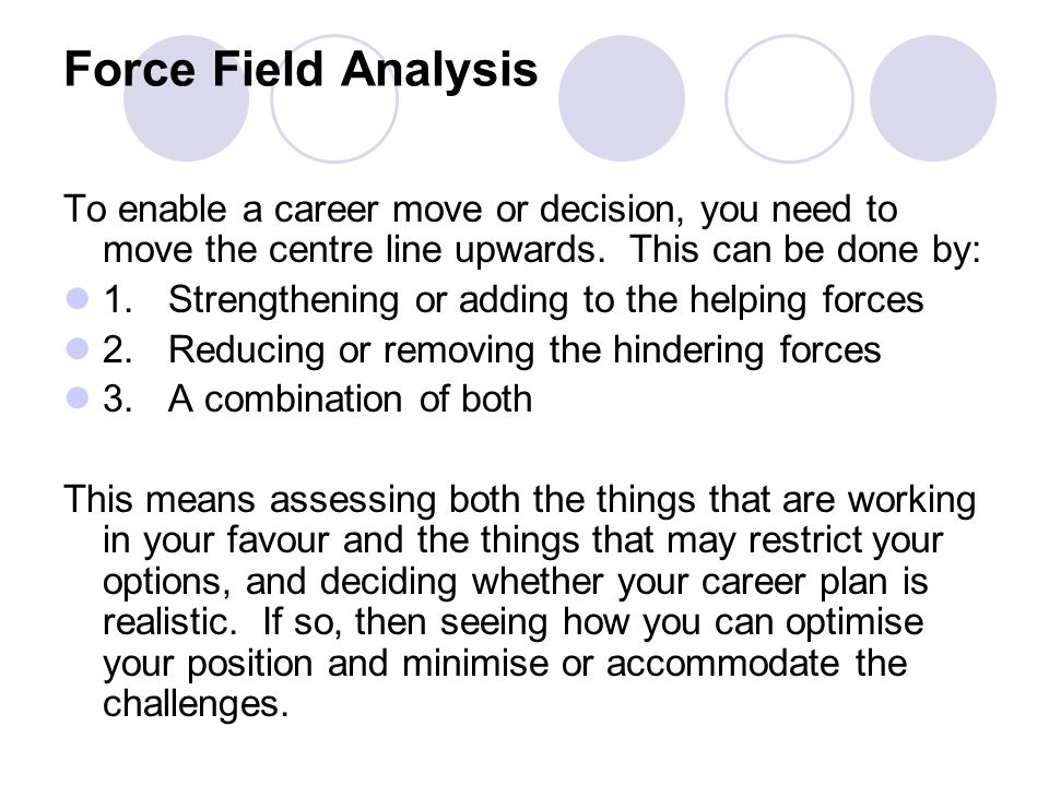 Force Field Analysis To enable a career move or decision, you need to move the centre line upwards. This can be done by: 1.Strengthening or adding to