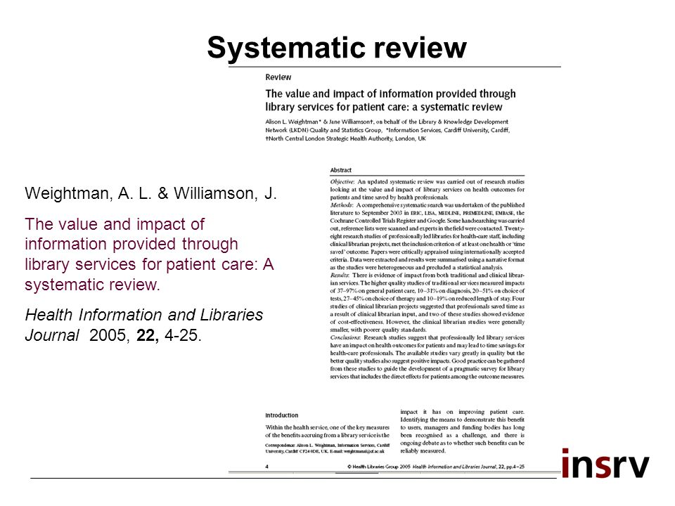 Systematic review Weightman, A. L. & Williamson, J. The value and impact of information provided through library services for patient care: A systemat